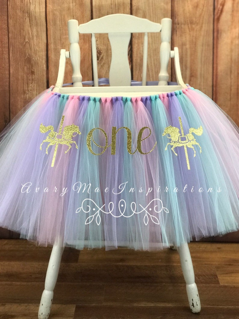 Pink Carousel 1st Birthday High Chair Tutu ANY COLORS Girls image 0