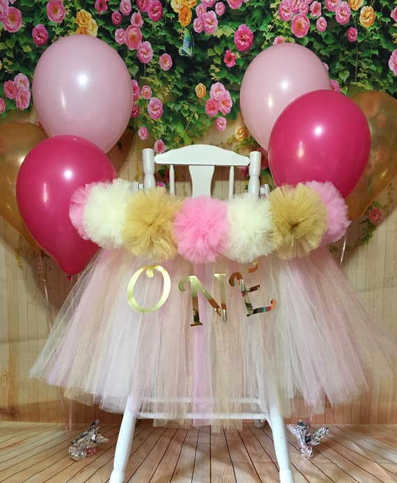 d115108601 Pink and Gold High Chair Tutu, Pink and Gold First Birthday High Chair  Banner, High Chair Skirt, High Chair Tulle Tutu, High Chair Decor