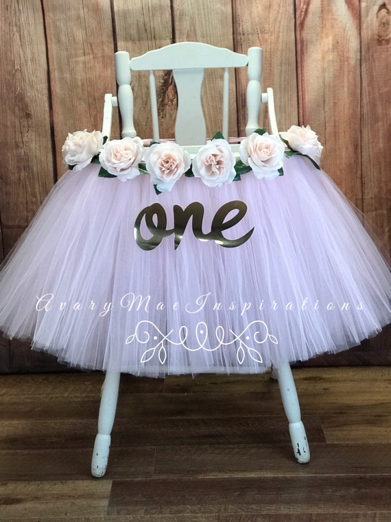 6844d1fde6 Blush High Chair Tutu, Blush Rose Highchair Banner Skirt, Girls First  Birthday Tulle Chair Cover, Smash Cake Party Decor, Turning One Year