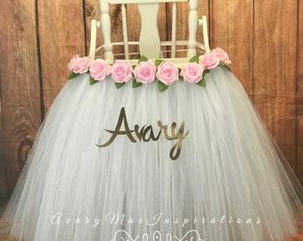 High Chair Tutu- White Highchair Tutu- White and Light Pink High Chair Skirt- Baptism Highchair tutu- Wedding Highchair skirt-Smash Cake