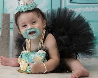 Girls Little Black Tutu, Mini Audrey Hepburn Costume, Black Flower Girl Dress, Birthday Cake Smash Outfit, Breakfast at Tiffany's Inspired