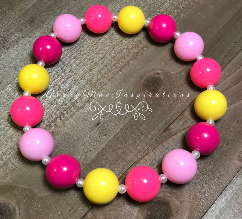 Girls Chunky Beads Baby Bead Necklace Toddler Chunky Necklace Bubblegum Girls Necklace Pink Lemonade Chunky Bead Necklace