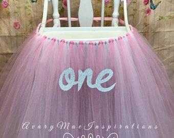 Pink High Chair Tutu, Highchair Tutu, High Chair Banner, Highchair Banner, First Birthday High Chair Decor, High Chair Skirt, Smash Cake