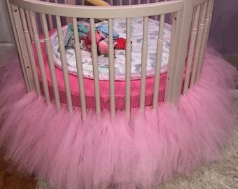 Pink Tulle Crib Skirt, ANY COLOR Tulle Crib Tutu, White Baby Girl Princess Nursery, Ivory Cream Crib Ruffle, Peach Round Crib Duster