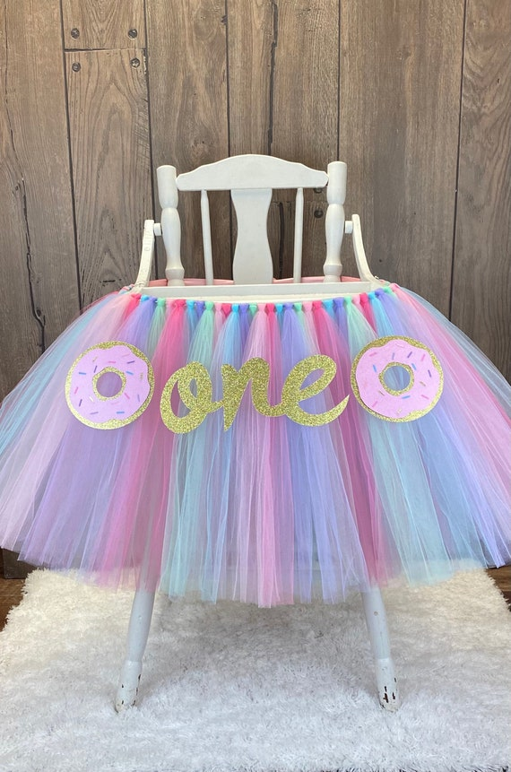 Aqua High Chair Banner Unicorn 1st Birthday High Chair Tulle Tutu Lavender Donut High Chair Banner Pink Cake Smash Prop