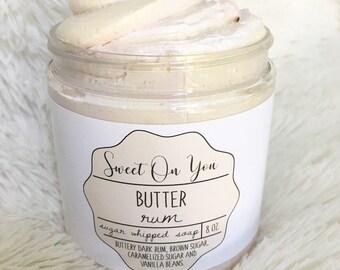 Butter Rum, Sugar Whipped Soap, Sugar Scrub, Body Polish, Exfoliate, Bath and Beauty, Soap, Whipped Soap, Beauty, Dessert Beauty