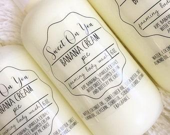 Banana Cream,Foaming Body Wash, Body Wash, Soap, Liquid Soap, Bath wash, Bath and Body, Dessert Beauty, Skin Care, Beauty, Moisturizer, Soap