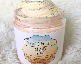 Island Girl, Sugar Whipped Soap, Sugar Scrub, Whipped Soap, Body Polish Emulsified Scrub, Bath and Body, Moisturizer, Exfoliate, Skincare