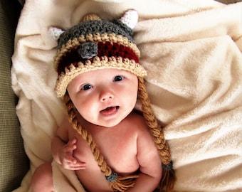 Female Viking dwarf hat/ girl crochet helmet with braids/ Halloween, d&d costume/ preemie, baby, child, adult hat/ gift for her
