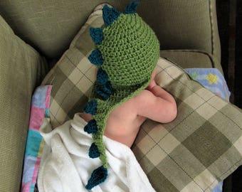 Crochet dragon hat/ green dinosaur cap costume, spikes and tail/ preemie baby child adult animal hat/ baby shower birthday gift