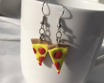 Pizza Earrings, Pizza Lover Jewelry, Pizza Slices, Cheesy Gift, Gift for Her, Miniature Food Jewelry, Pepperoni Pizza Slice, pizza love