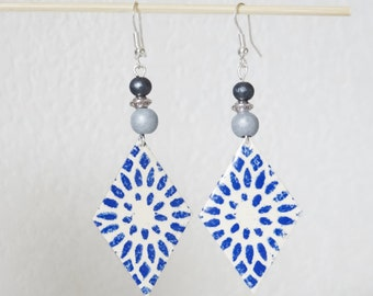 Rosette ivory blue enamel earrings