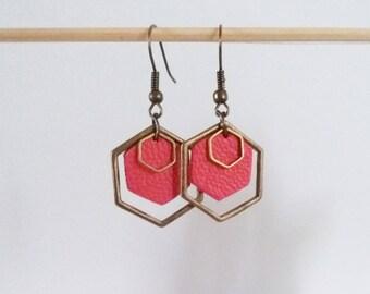 Leather triple pink Hexagon earrings