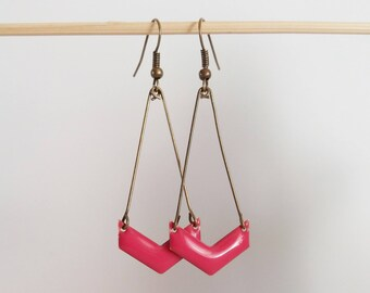 Chevron pink enamel earrings raspberry