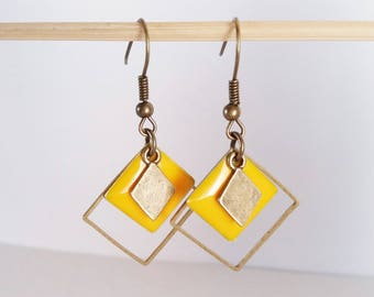 Earrings mustard yellow enameled graphics