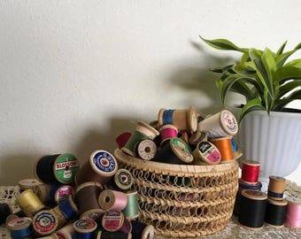 Huge Lot of 131 vintage Wooden Spools of Thread
