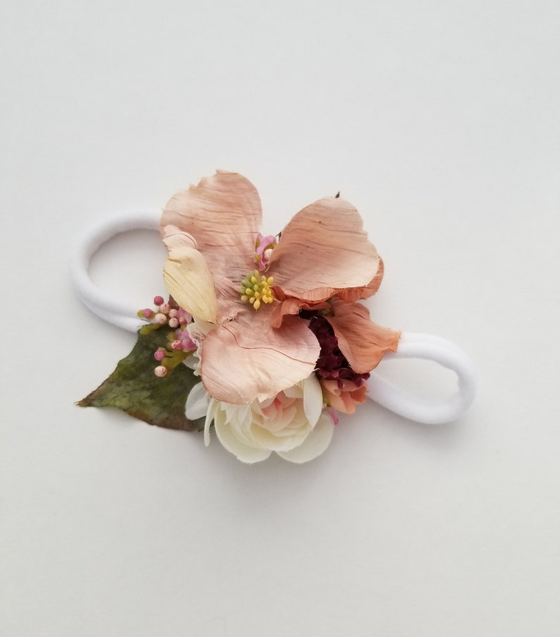 Handmade Floral Felt Flower Nylon Headband Onesize Burgundy and Blush