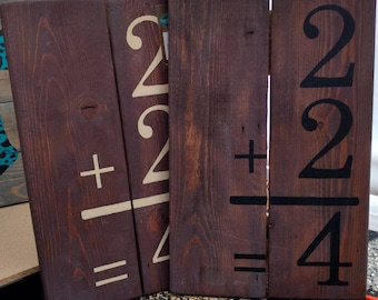 "11"" X 16.75"" 2+2=4 Addition Flash Card Pallet Wood Sign"
