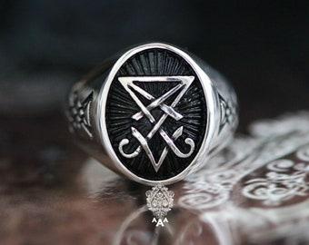 Sigil of Lucifer ring,Sterling Silver 925 Black.