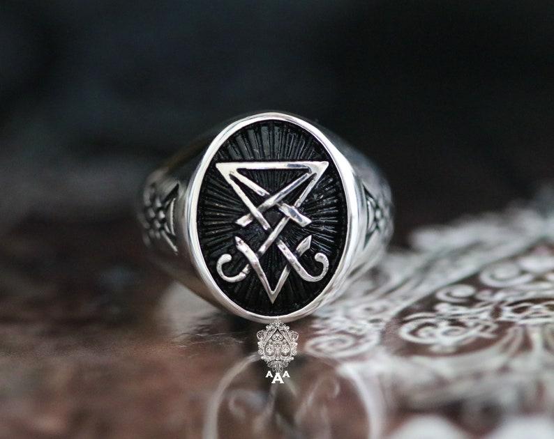 Sigil of Lucifer ringSterling Silver 925 Black. image 0