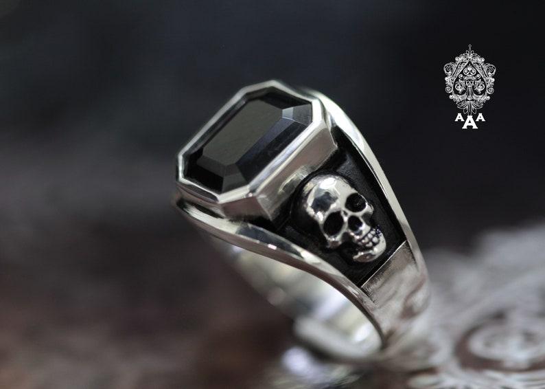 Onyx ringOnyx Skull ring skull ringSeries Sterling Silver image 0