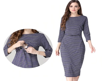 5d2d8e55641 Blue Strip Dress - Breastfeed Maternity Clothes - Women Maternity Clothes - Breastfeeding  Tops - Nursing Dress- Breastfeeding dress