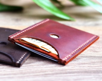 Personalized small leather wallet men Minimalist handmade front pocket wallet Brown leather purse Card wallet Full grain bifold