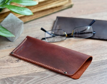 Leather Glasses Case Leather Reading Glasses Case Leather Glasses Box Eyeglass Case Gift for him Dad gift Brown Сase Brown Glasses Case