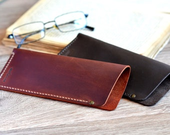 4ab675a063c Personalized leather reading glasses case Handmade eyeglasses case Soft glasses  case Distressed leather eyeglasses Full grain leather case