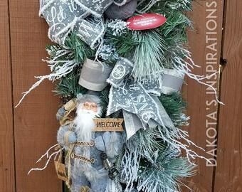 798fdce11948d Woodsy Santa Swag Christmas Swag Christmas Wreath Christmas