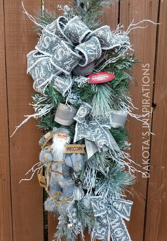 f81bc147a865d Let It Snow Santa Light Up Swag Christmas Wreath Christmas