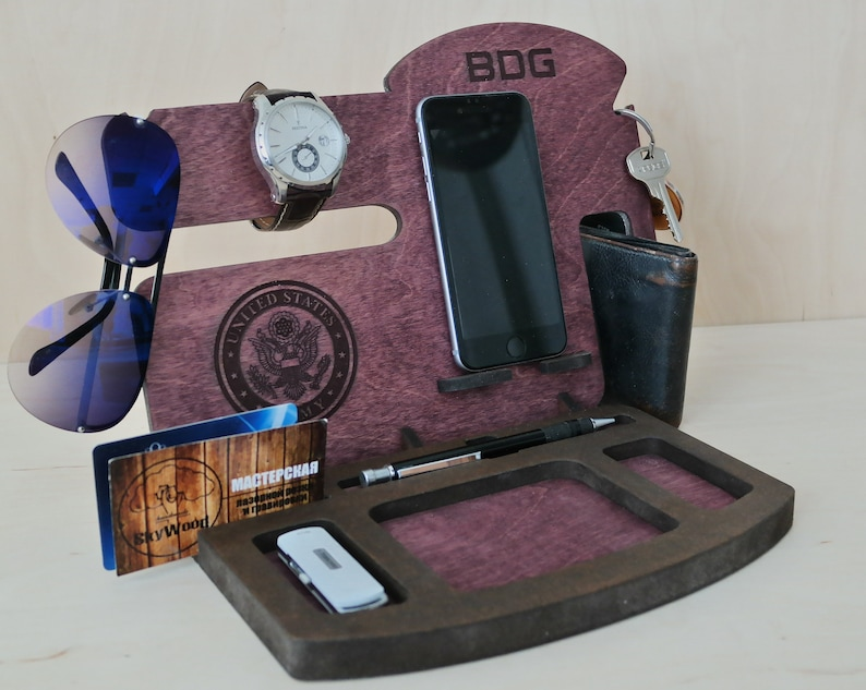 Wood Charging Station US Army Gift Custom Phone Stand