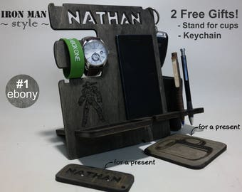 Personalized Gift for Him, Ironman gift for Him from Wife, iPhone Docking Station, Father's day gift, Custom Gift for Dad from Daughter, men