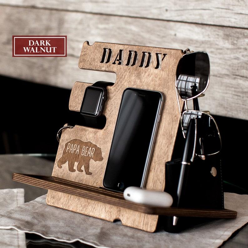 Custom charging station Fathers day gift Papa Bear style image 0