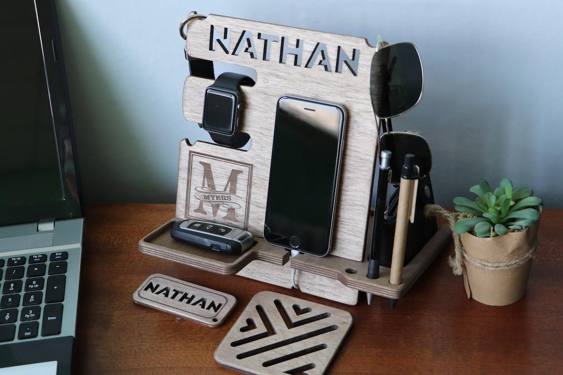 Custom docking station, Gift for men, Christmas gift, Present for him, Phone stand, custom gift idea