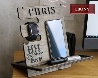 Wood phone stand, Personalized gift for husband, gift for dad, desk organizer, Boyfriend gift, Docking Station, Gift for Men
