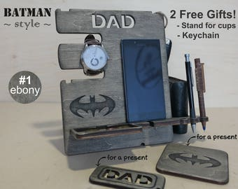 Personalized Fathers day gift for dad, docking station, charging station, desk organizer, Mens birthday gift, gift for him, gift for husband
