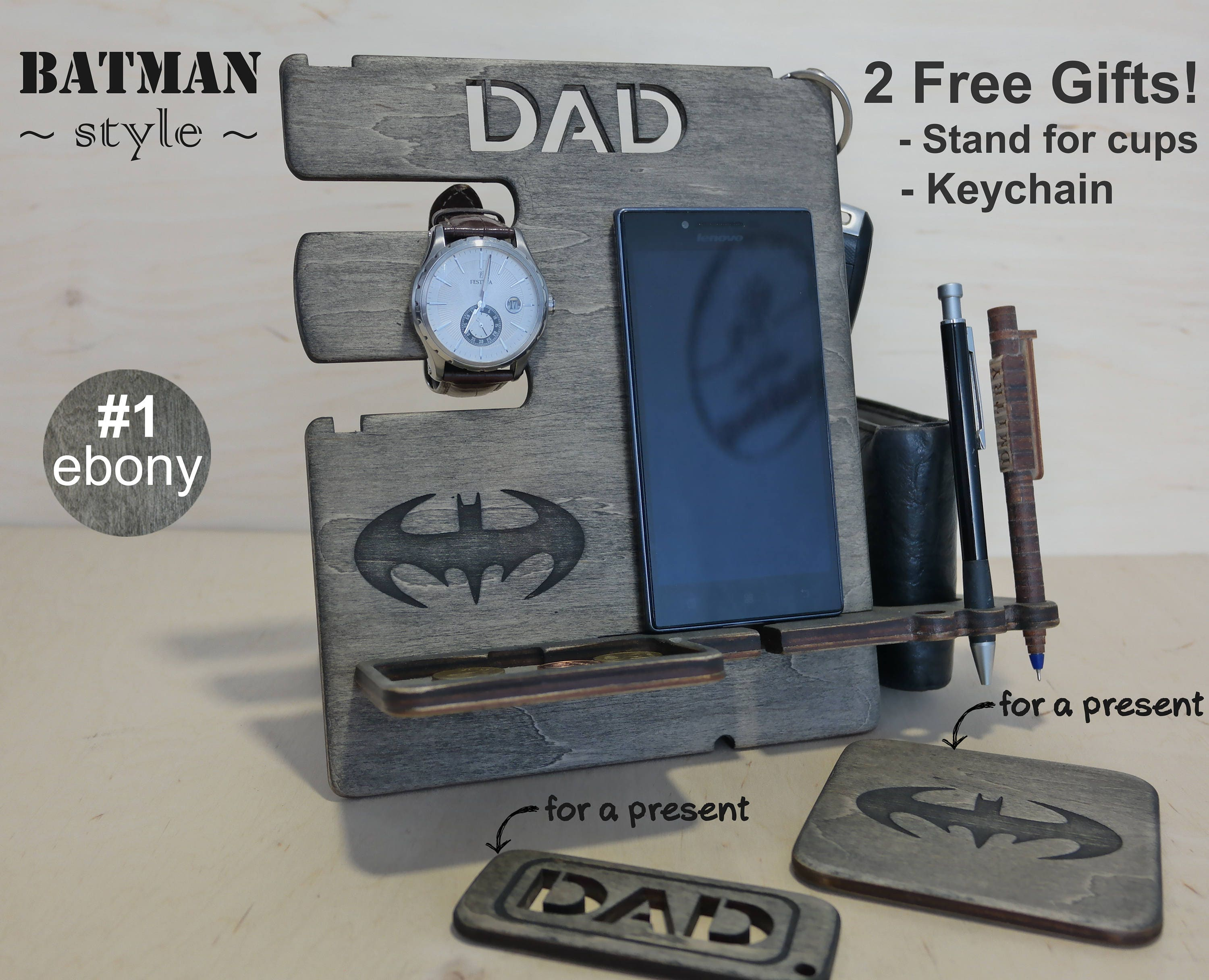 39dc922721e88 Personalized gift for dad Wood docking station charging