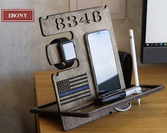 Police Officer gift Thin Blue Line Docking station Organizer Law enforcement gift Retirement sign, Police academy Husband gifts