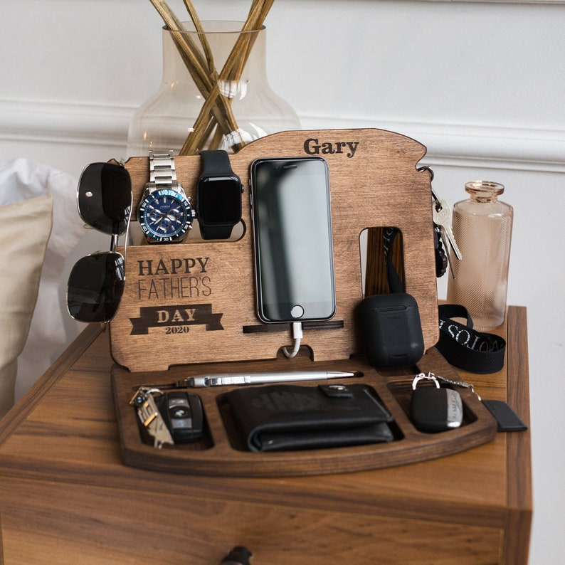 """Sometimes Dad can be really clumsy and have trouble finding his """"lost"""" stuff. This Docking Station will be a good reminder for him to make sure he knows where to find his belongings."""