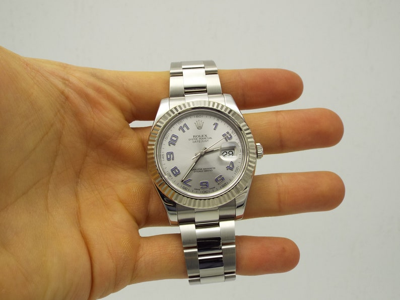 2da1d04510d Rolex DateJust II 2 116334 Silver Dial Blue Arabic Stainless   Etsy