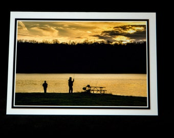 A Man And A Boy Fishing In The Setting Sun 5x7 Card By ThomasMinutoloPhotos