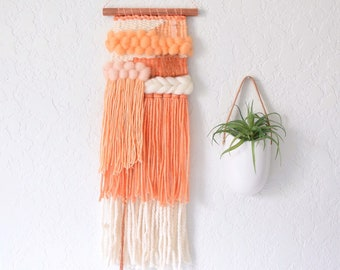 Wall Hanging | Weaving | Woven Wall Art | Handwoven Tapestry   Yarn Wall  Hanging, Fabric Wall Hanging, Boho, Orange White