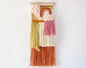 Rainbow woven wall hanging with rain cloud for nursery decor. Handwoven modern boho kids decor. Blush brown rust driftwood weaving.