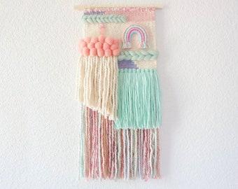 Rainbow woven wall hanging with rain cloud for nursery decor. Handwoven modern boho kids decor. Pink mint pastel weaving.