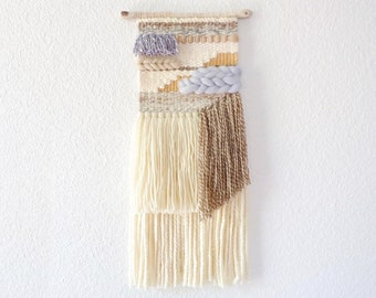 Beach blue neutral beige brown boho driftwood wall hanging. Ready to ship tapestry.