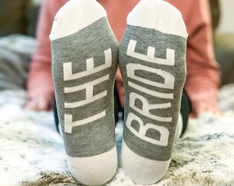 Personalized Bride Socks Proposal Gift, Bridesmaid Maid of Honor and Bride Socks, Personalized Gifts for Bridesmaids, Wedding Party Socks