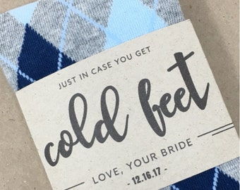 Sock Gift for Groom on Wedding Day from Bride, Personalized Sock Label, Cute Groom Gift for Wedding Day, No Cold Feet Socks Gift for Groom