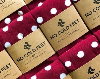 Burgundy Polka Dot Groomsmen Socks Multi Pack, Burgundy White Polka Dots Socks for Wedding Day, Groomsmen Gift Socks, Groom Wedding Socks