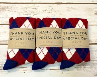 Personalized Groomsmen Burgundy Navy Argyle Socks 3-Pack with Custom Labels, Groomsmen Gift, Wedding Socks for Groomsman and Groom